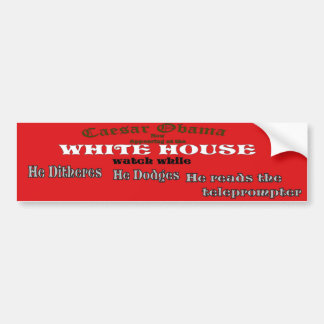 Obama appearing at white house car bumper sticker