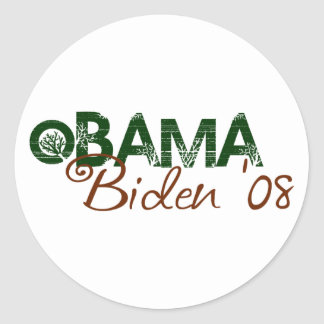 Obama Biden 2008 Green Edition Round Sticker