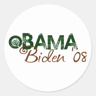 Obama Biden 2008 (Green Edition) Round Sticker