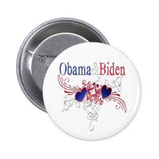 Obama Biden 2008 Patriotic Hearts 2 Inch Round Button