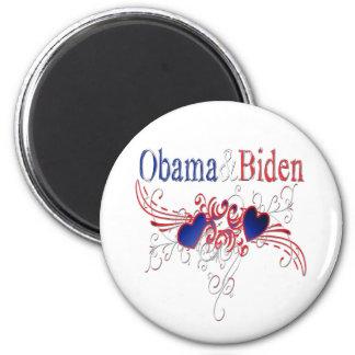 Obama Biden 2008 Patriotic Hearts 2 Inch Round Magnet