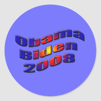 obama biden 2008 round sticker