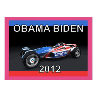 Obama Biden 2012 Race Car Poster on Canvas