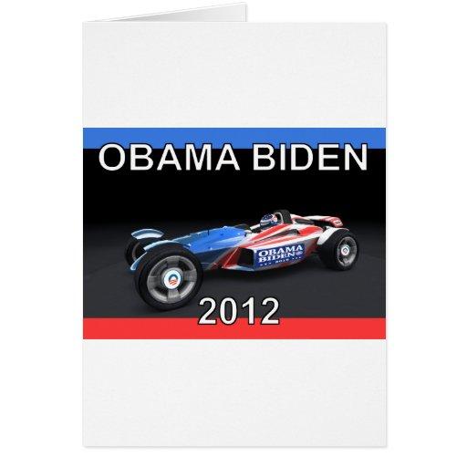 Obama Biden 2012 Racing Car Greeting Card