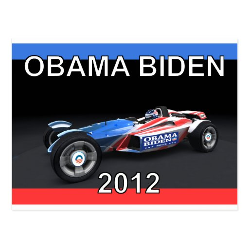 Obama Biden 2012 Racing Car Post Card