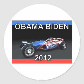 Obama Biden 2012 Racing Car Round Sticker