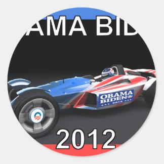 Obama Biden 2012 Racing Car Round Stickers