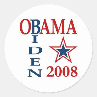 Obama Biden Cross 2008 Round Sticker