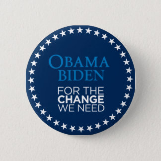 Obama Biden for the Change We Need 2 Inch Round Button