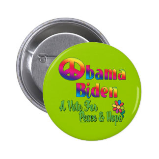 Obama Biden Peace and Hope 2008 2 Inch Round Button
