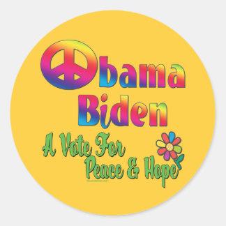 Obama Biden Peace and Hope 2008 Round Sticker