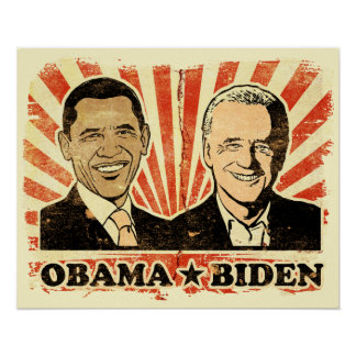 Obama Biden Portraits Print