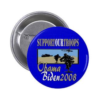 Obama Biden Support Our Troops 2 Inch Round Button