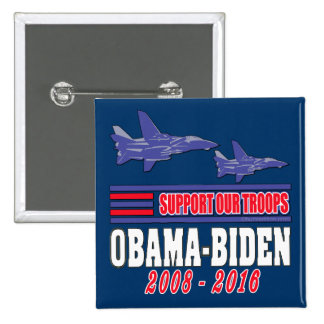 Obama Biden Support Our Troops Pinback Buttons