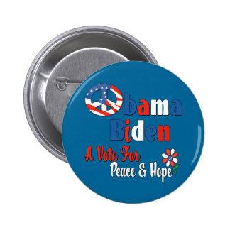 Obama Biden Vote for Peace and Love 2 Inch Round Button