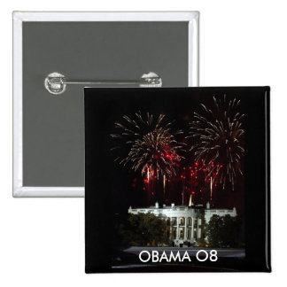 OBAMA BUTTON, FIREWORKS AT THE WHITE HOUSE