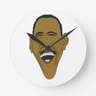 Obama Caricature Round Clock