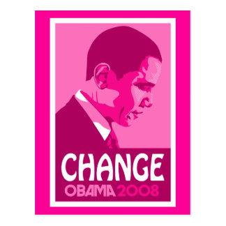 Obama - Change Dark Pink Postcard