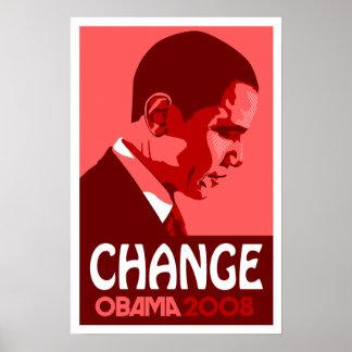 Obama - Change Dark Red Poster