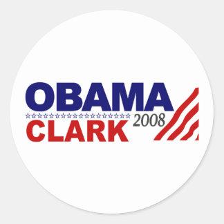 Obama Clark 2008 Round Sticker