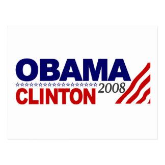 Obama Clinton 2008 Postcard