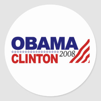 Obama Clinton 2008 Round Stickers