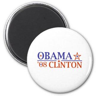 Obama Clinton Super Ticket 2008 2 Inch Round Magnet
