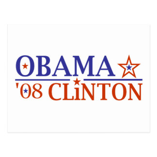 Obama Clinton Super Ticket 2008 Postcard