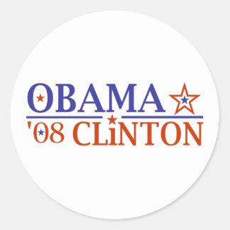 Obama Clinton Super Ticket 2008 Round Sticker
