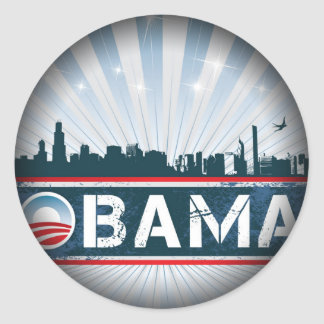 Obama Fade to Black Round Stickers