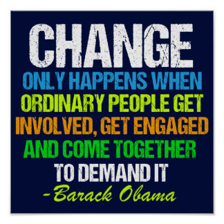 Obama Farewell Speech Quote on Change Poster