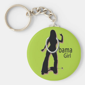 OBAMA GIRL GROOVY GREEN KEYCHAIN