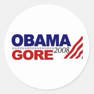 Obama Gore 2008 Round Stickers