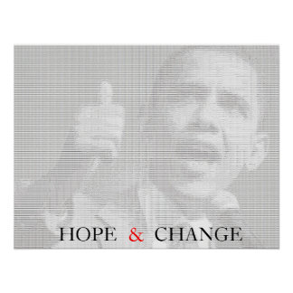Obama Hope & Change Ascii Art Poster