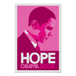 Obama - Hope Dark Pink Poster