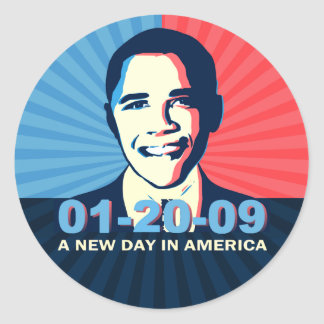 Obama Inauguration Portrait New Day in America Classic Round Sticker
