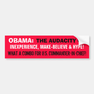 OBAMA: INEXPERIENCE, MAKE-BELIEVE & HYPE! BUMPER STICKER