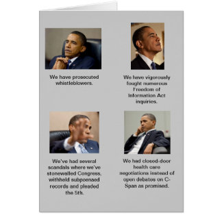 Obama is so transparent! greeting card