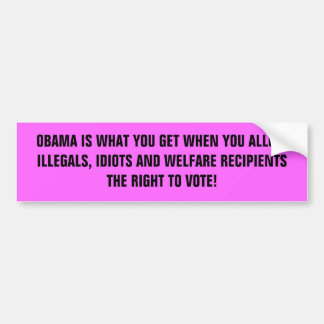 OBAMA IS WHAT YOU GET WHEN YOU ALLOW ILLEGALS, ... BUMPER STICKER