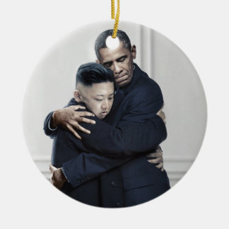 Obama Kim Jong Un North Korea Love Ceramic Ornament