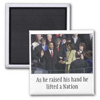 Obama oath, As he rose his hand he... - Customized Magnet