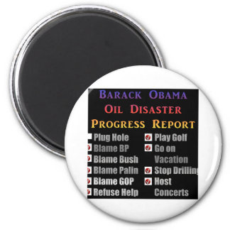 Obama oil spill progress report refrigerator magnets