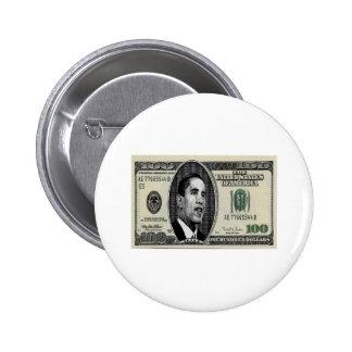 Obama on $100 bill 2 inch round button