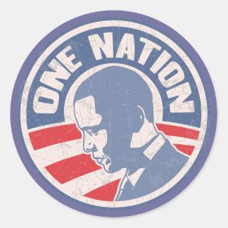 obama-one-nation-T Classic Round Sticker