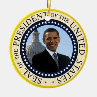 Obama Portrait in Official Presidential Seal Ceramic Ornament