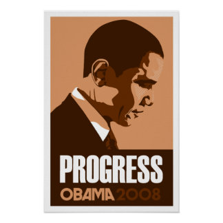 Obama - Progress Dark Brown Poster