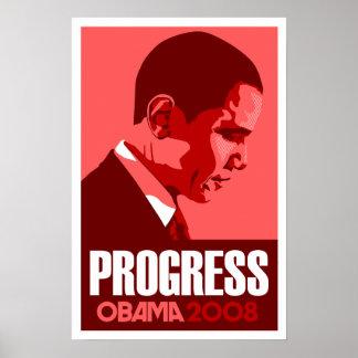 Obama - Progress Dark Red Poster