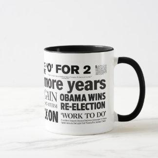 Obama Re-Elected Newspaper Headline Collage Mug
