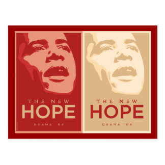 """Obama """"The New Hope"""" Red & Tan Postcard"""