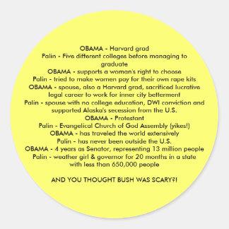 OBAMA v. Palin Round Sticker